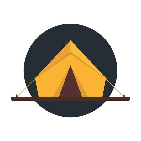 Summer camp icon tent. Vector flat illustration. Vectores