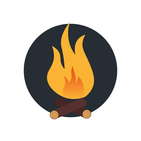 Summer camp icon bonfire. Vector flat illustration.