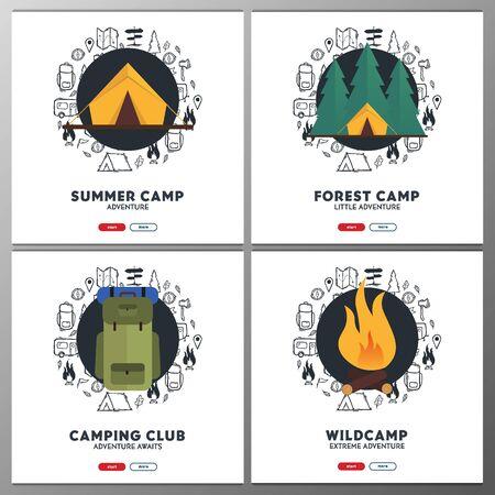Summer camp banners. Camping hand draw doodle background. Vector illustration. Ilustración de vector