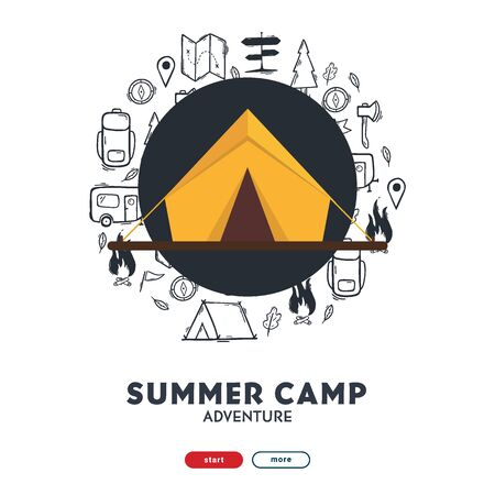Summer camp with tent. Camping hand draw doodle background. Vector banner illustration.