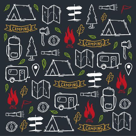 Summer camp. Camping hand draw doodle background. Vector illustration.