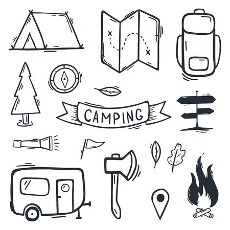 Summer camp. Camping hand draw doodle background. Vector illustration. Foto de archivo - 149994834