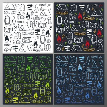 Summer camp. Set of Camping hand draw doodle backgrounds. Vector illustration. Foto de archivo - 149994839