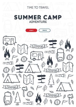 Summer camp. Camping hand draw doodle background. Vector banner illustration.