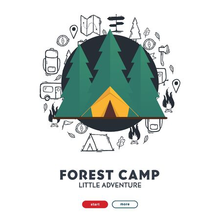 Summer camp with flat forest. Camping hand draw doodle background. Vector banner illustration. Foto de archivo - 149994844