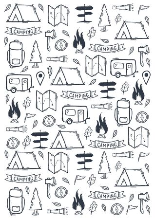 Summer camp. Camping hand draw doodle background. Vector illustration. Foto de archivo - 149994842