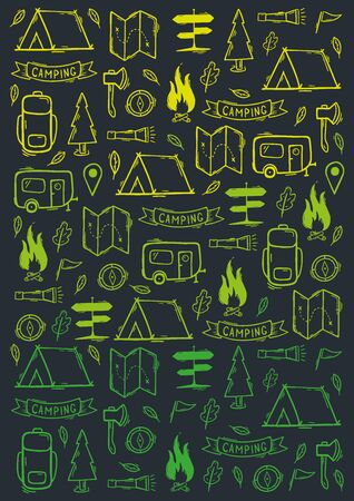 Summer camp. Camping hand draw doodle background. Vector illustration. Foto de archivo - 149994843