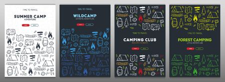 Summer camp. Camping hand draw doodle backgrounds. Vector banner illustration. Vectores
