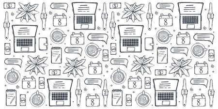 Freelance hand draw doodle background with popular symbols and elements of remote work.