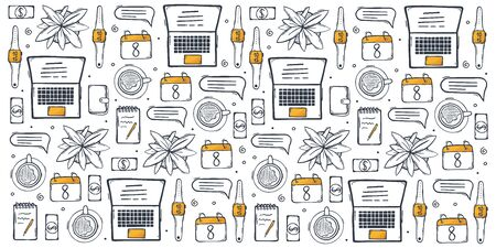 Freelance hand draw doodle background with popular symbols and elements of remote work 일러스트