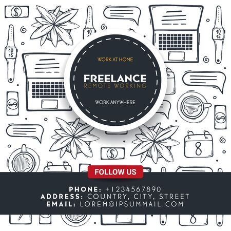 Social Media Freelance banner with hand draw doodle background. Popular symbols and elements of remote work.