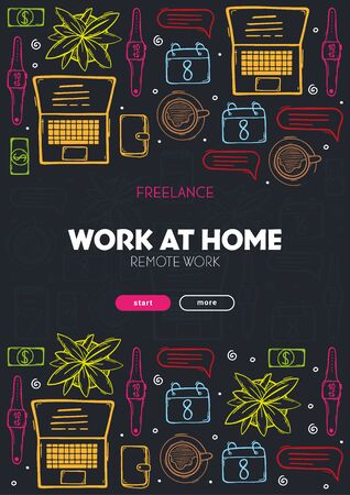 Freelance banner with hand draw doodle background. Popular symbols and elements of remote work.