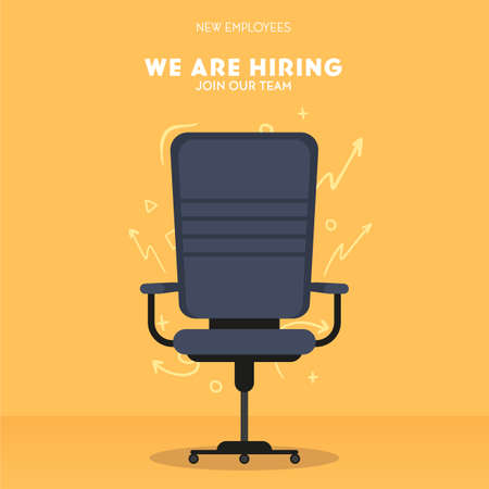 We are hiring. Recruiting banner with office chair. Vector illustration.