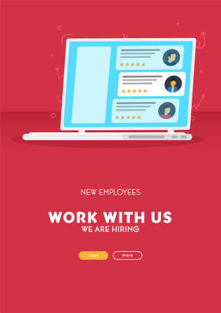 We are hiring. Recruiting banner with Choosing Best Candidate for Job. Vector illustration.