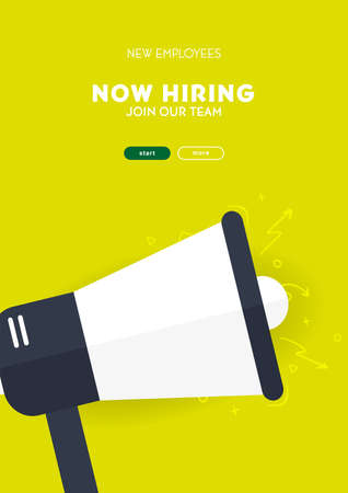 We are hiring. Recruiting banner with megaphone. Vector illustration.
