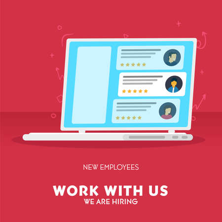 We are hiring. Recruiting banner with Choosing Best Candidate for Job. Vector illustration