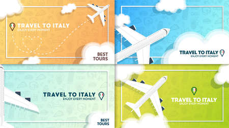 Set of Travel to Italy banners with plane and clouds. Hand draw doodle background.