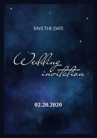 Wedding Invitation. Save the Date. Poster with cloudy background. 스톡 콘텐츠