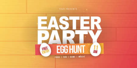 Happy Easter. Party Flyer Illustration with white eggs. Nature wooden background. Spring holiday celebration poster design template. 스톡 콘텐츠