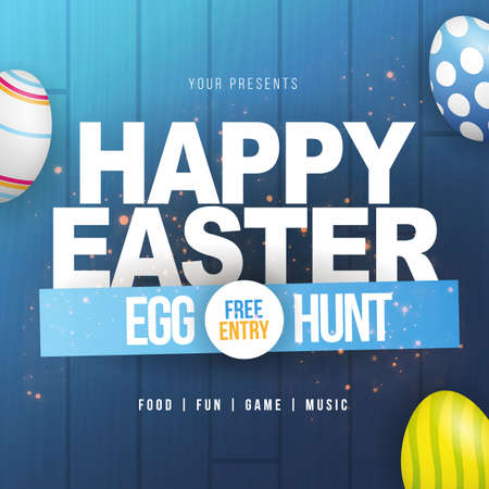 Happy Easter. Party Flyer Illustration with painted eggs and typography elements on nature blue wooden background. Spring holiday celebration poster design template.
