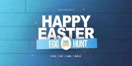 Happy Easter. Party Flyer Illustration with white eggs. Nature wooden background. Spring holiday celebration poster design template. Standard-Bild
