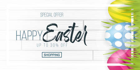 Happy Easter. Party Flyer Illustration with painted eggs, green grass and typography elements on nature wooden background. Spring holiday celebration poster design template.