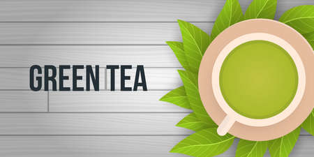 Tea time banner on wood background with tea leaves. 스톡 콘텐츠