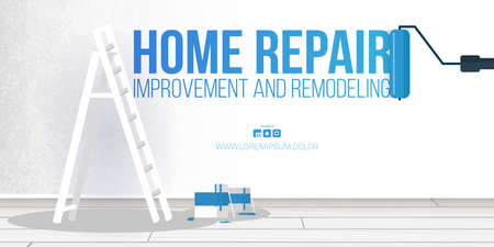 Home Repair Banner. Ladder, paint can and paint roller.
