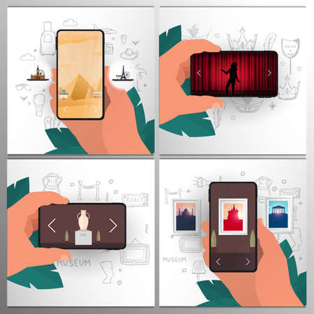 Set banners of online entertainment. Travel, Museum, Gallery, Theater. Palm with smartphones on the hand draw doodle elements. Stock fotó