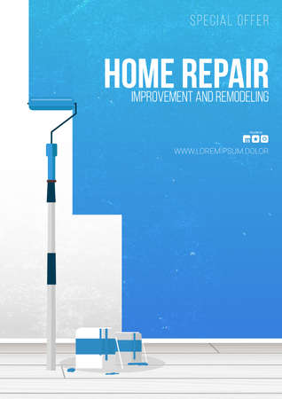 Home Repair Banner. Painting a wall with paint roller.