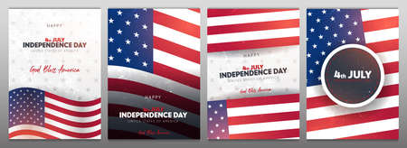 4th July. Fourth July. Independence day of USA. Set of Banners with american flag. 스톡 콘텐츠