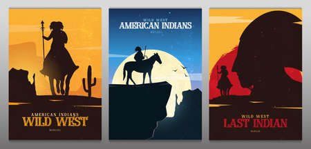 Set of Native American Indian with horse banners. Wild West landscape.