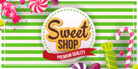 Candy Shop banner with sweets on the retro background.