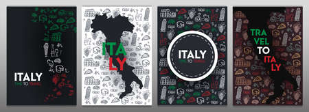 Set of Travel to Italy banners. Doodle hand drawn background illustration. 스톡 콘텐츠