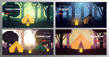 Set of banners. Summer camp. Travel and Adventure. Sunset in the forest. Climbing, Trekking, Hiking, Walking. Campfire Nature landscape.
