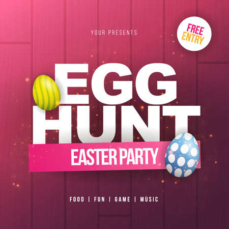 Happy Easter. Party Flyer Illustration with painted eggs and typography elements on nature pink wooden background. Spring holiday celebration poster design template.