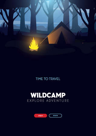 Summer camp. Travel and Adventure. Sunset in the forest. Climbing, Trekking, Hiking, Walking. Campfire Nature landscape. 스톡 콘텐츠