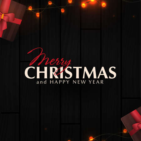 Christmas banner. Wooden Xmas Background design of sparkling lights garland, with gifts box. New Year Poster, greeting cards, headers, website. 스톡 콘텐츠