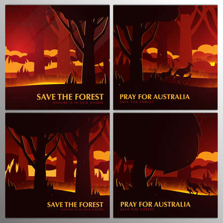 Forest Fires background. Save the Forest banner. Pray for Australia. Natural disaster. Vector Illustration.
