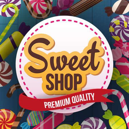 Candy Shop banner with sweets on the wooden background.