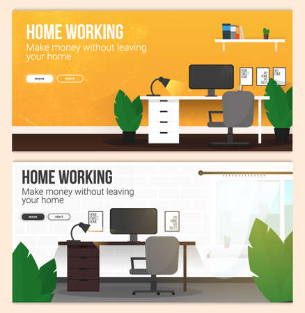 Set of Home Working banners with workspace. Home office. Freelance concept template. 스톡 콘텐츠