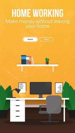 Home Working banner with workspace. Home office. Freelance concept template.