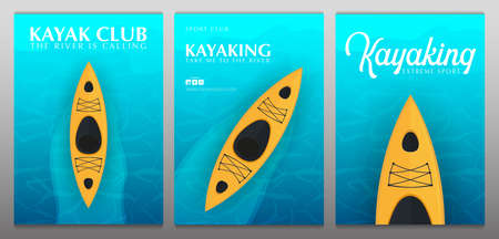 Set of Kayaking banners with top view on the yellow kayak. Summer Sea activities.