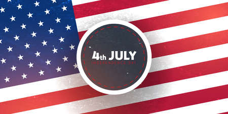 4th July. Fourth July. Independence day of USA. Banner with american flag. 스톡 콘텐츠