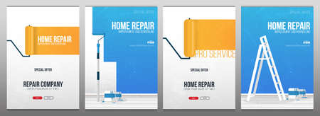 Set of Home Repair Banners. Painting a wall with paint roller.