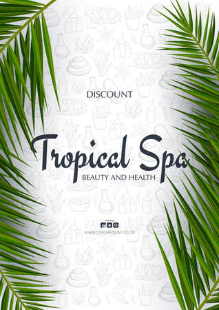 Spa and Relax banner with palm leaves and hand draw doodle background. 스톡 콘텐츠