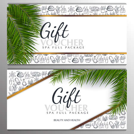 Set of Spa or Beauty saloon Gift vouchers with palm leaves and hand draw doodle background. 스톡 콘텐츠