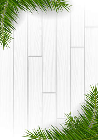 White Wooden background with exotic palm leaves.