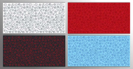 Set of Backgrounds with virus. Vector illustration with hand draw doodle elements. 스톡 콘텐츠