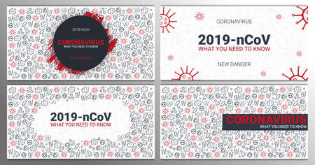 Set of Coronavirus 2019 nCoV banners. What you need to know. illustration with hand draw doodle background. 스톡 콘텐츠